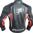 HAYABUSA SUZUKI BLACK COWHIDE RACING MOTORCYCLE LEATHER JACKET WITH SAFETY PADS