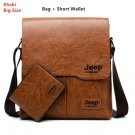 Men Tote Bags Set JEEP BULUO Famous Brand New Fashion Man Leather Messenger Bag