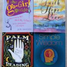 4 Mini Books by Running Press - Palm Reading, Simple Wisdom, The Go-Girl Guide & Faith, Hope & Love!