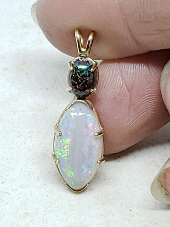 Handmade 14k Yellow Gold Genuine Australian Opal Pendant