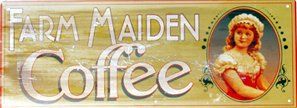 FARM MAIDEN COFFEE TIN SIGN RETRO HOME CAFE BAR SIGNS C