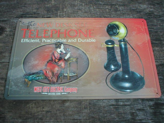 VINTAGE STYLE DESK TELEPHONE TIN SIGN METAL AD SIGNS T