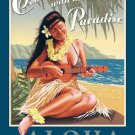 ALOHA PARADISE TIN SIGN METAL ADV RETRO SIGNS A