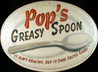 POP'S GREASY SPOON RETRO TIN SIGN METAL CAFE AD SIGNS C