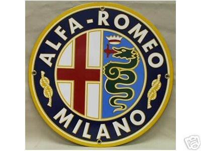 ALPHA-ROMEO PORCELAIN-OVERLAY SIGN METAL CAR ADV SIGNS