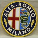 ALPHA-ROMEO PORCELAIN-OVERLAY SIGN METAL CAR ADV SIGNS