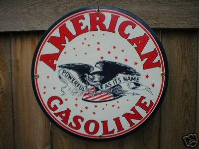 AMERICAN GASOLINE PORCELAIN SIGN GAS & OIL METAL SIGNS