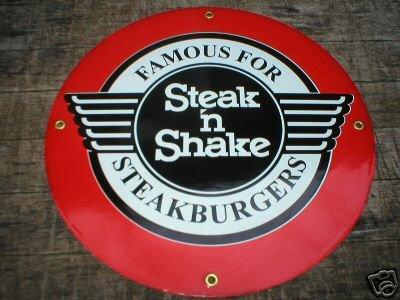 STEAK N SHAKE PORCELAIN SIGN METAL GAS & OIL SIGNS T