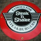 STEAK N SHAKE PORCELAIN SIGN METAL GAS & OIL SIGNS T