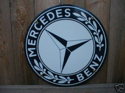 MERCEDES BENZ PORCELAIN-OVERLAY SIGN METAL GAS SIGNS M