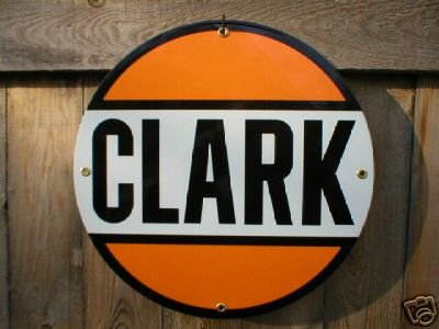 CLARK PORCELAIN GASOLINE SIGN METAL GAS & OIL SIGNS C