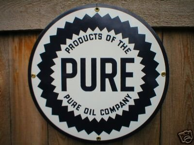 PURE OIL COMPANY PORCELAIN SIGN METAL GAS & OIL SIGNS T
