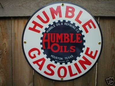 HUMBLE GASOLINE PORCELAIN SIGN METAL GAS STATION SIGNS