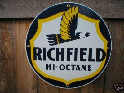 RICHFIELD HI-OCTANE PORCELAIN SIGN METAL OIL GAS SIGNS