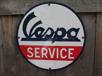 VESPA SERVICE PORCELAIN COAT SIGN METAL ADV SIGNS V