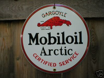 MOBILOIL ARCTIC PORCELAIN-COATED SIGN METAL ADV SIGNS M