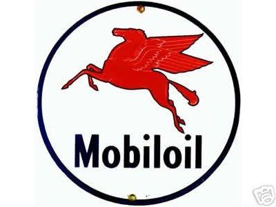 MOBILOIL PORCELAIN-COATED SIGN