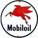 MOBILOIL PORCELAIN-COATED SIGN