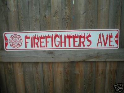 FIREFIGHTERS AVE BIKE BAR SIGN METAL STREET SIGN L