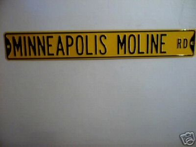 MINNEAPOLIS MOLINE RD STREET SIGN METAL TRACTOR SIGNS M