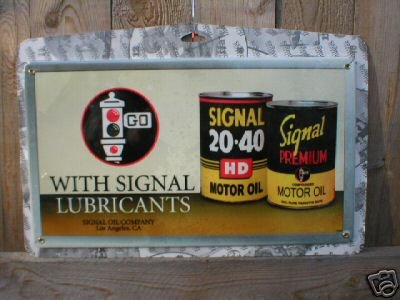 SIGNAL MOTOR OIL SIGN COLLECTOR GAS & OIL SIGNS S