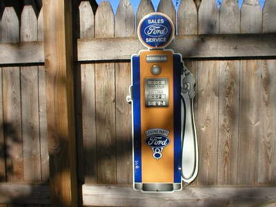 FORD SALES & SERVICE GAS PUMP DIECUT TIN SIGN F