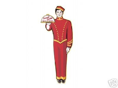 LARGE RETRO RED BELLBOY TIN SIGN METAL ADV AD SIGNS B