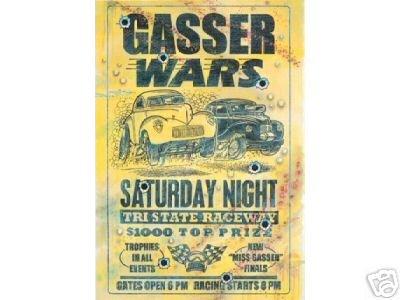 GASSER WARS SATURDAY NIGHT SIGN RETRO CAR ADV SIGNS G