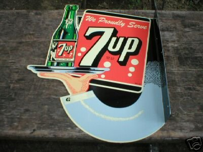 7UP DINER SIGN DOUBLE SIDED STEEL FLANGE SIGN