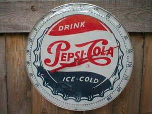 ROUND PEPSI COLA ADVERTISING SODA POP THERMOMETER P