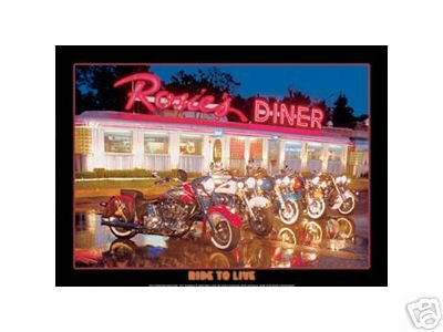 ROSIE'S DINER RIDE TO LIVE TIN SIGN METAL RETRO SIGNS R