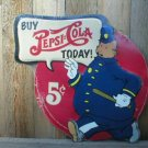 PEPSI COLA KEYSTONE COP TIN METAL DIECUT SIGN