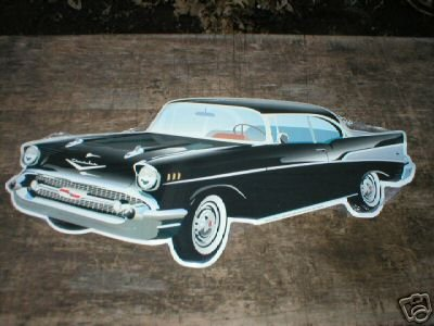 57 CHEVROLET DIECUT TIN SIGN BLACK CAR ADV METAL SIGNS