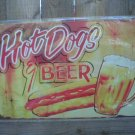 HOTDOGS & BEER TIN SIGN METAL ADV POSTER SIGNS H
