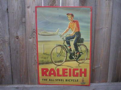 RALEIGH ALL STEEL BICYCLE TIN SIGN METAL ADV AD SIGNS F