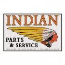 INDIAN TIN SIGN PARTS & SERVICE METAL MOTORCYCLE