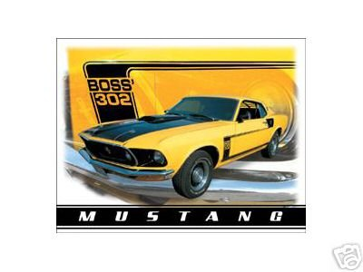 MUSTANG YELLOW BOSS 302 TIN SIGN RETRO METAL SIGNS M