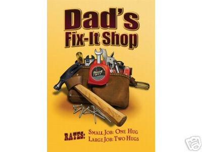 DAD'S FIX-IT SHOP TIN SIGN METAL ADV AD SIGNS D