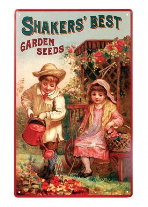SHAKER'S BEST GARDEN SEEDS TIN SIGN METAL ADV SIGNS S
