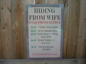 HIDING FROM WIFE TIN SIGN AD METAL PIC BAR HOME SIGNS B