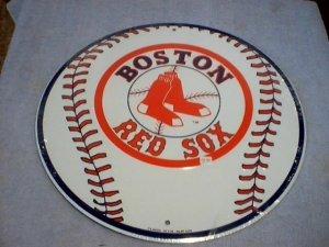 BOSTON RED SOX BASEBALL TIN SIGN METAL ADV AD SIGNS B