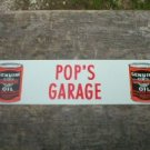 POP'S GARAGE MOTORCYLE OIL TIN SIGN METAL ADV SIGNS H