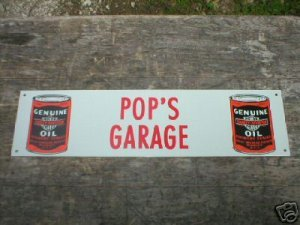 POP'S GARAGE MOTORCYLE OIL TIN SIGN METAL ADV SIGNS H
