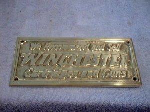 BRASS WINCHESTER GUN & CARTRIDGE SIGN  W