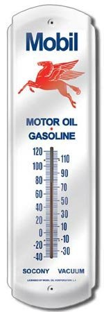MOBIL PEGASUS GAS OIL TIN THERMOMETER SIGN METAL SIGNS