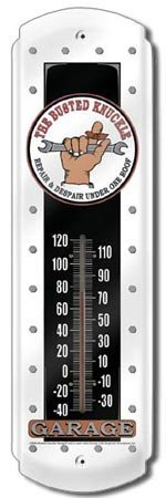 BUSTED KNUCKLE THERMOMETER SIGN METAL ADV SIGNS B