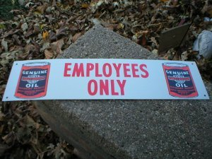 EMPLOYEES ONLY MOTORCYCLE OIL BIKER BAR TIN SIGN H