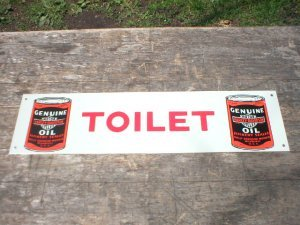 MOTORCYCLE OIL TOILET TIN SIGN METAL ADV SIGNS H