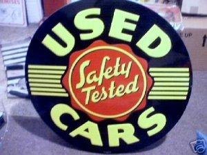 USED CARS TIN SIGN LARGE ROUND BLACK METAL