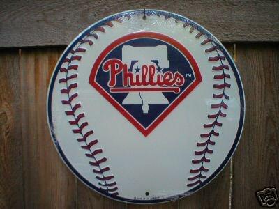 PHILIDELPHIA PHILLIES ROUND ALUMINUM BASEBALL SIGN P